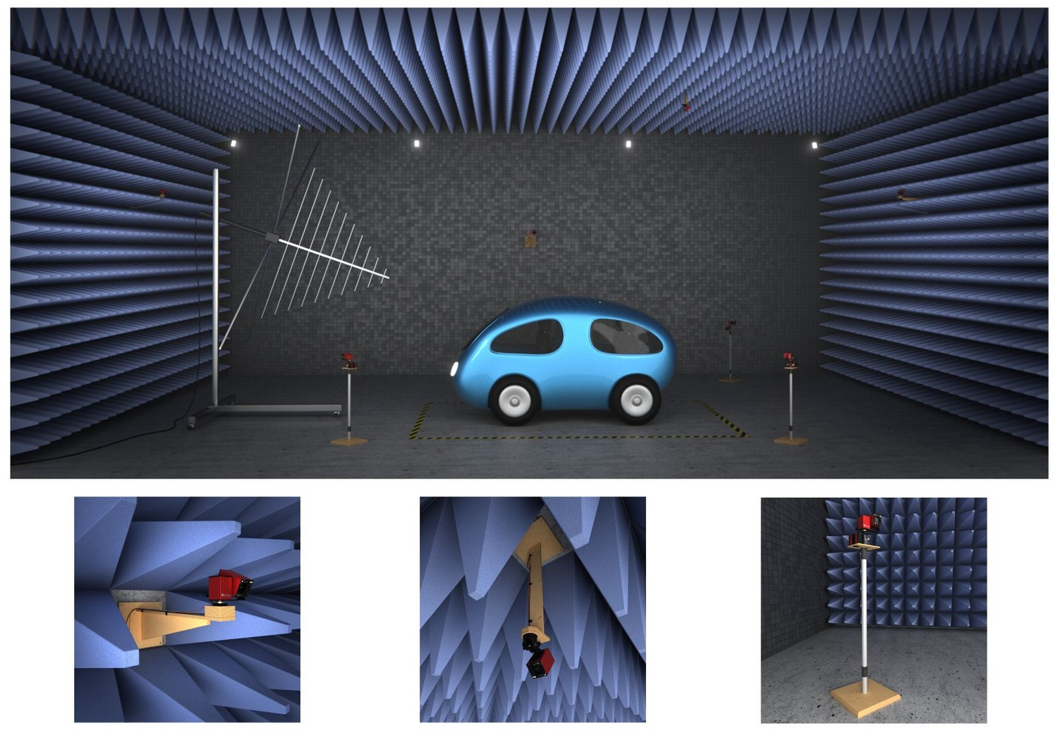 anechoic chamber with wallmount, ceiling mount, and monopod